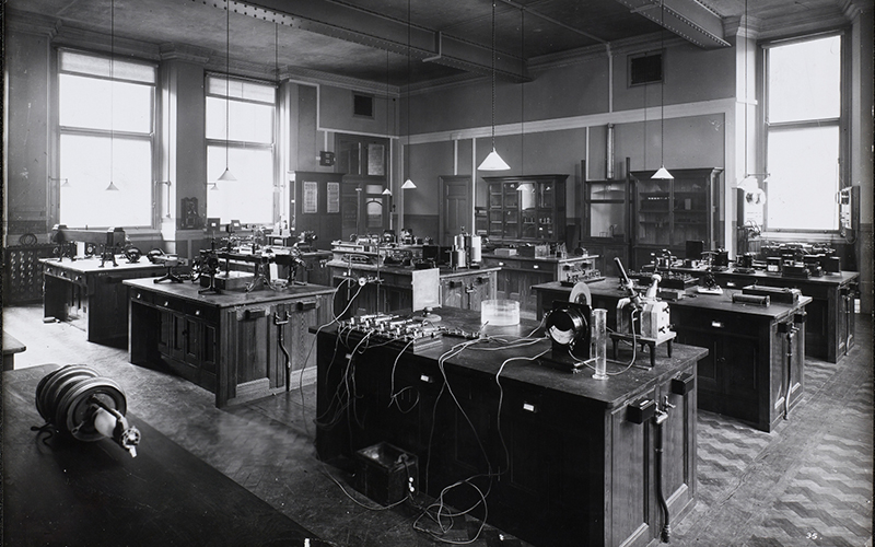 Black and white photograph of Electro-Technical laboratory in the main UMIST building