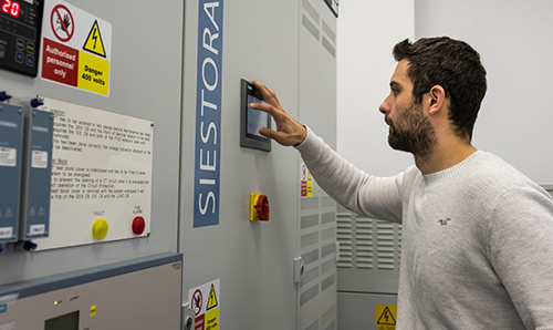 Member of staff working in an Energy storage lab