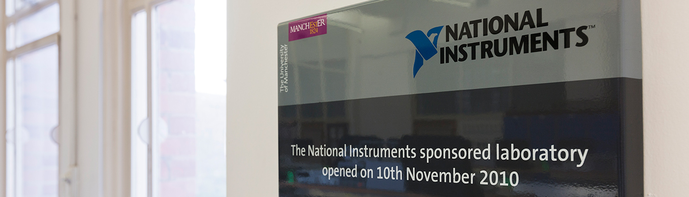 A sign for the National Instruments-sponsored laboratory at the University