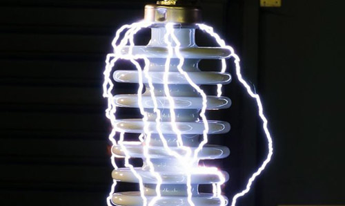 Light bulb with electricity sparking around it
