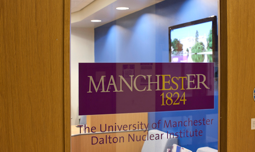 Reception door at the Dalton Nuclear Institute in Manchester