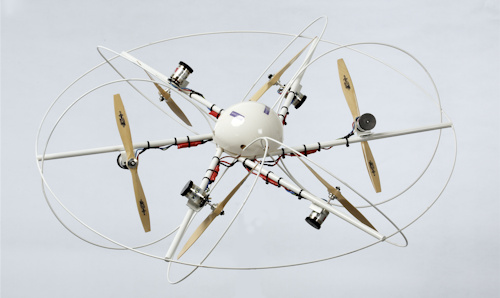 A drone with six propellors