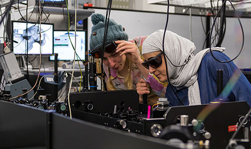 Two female students conducting research at the Photon Science Institut