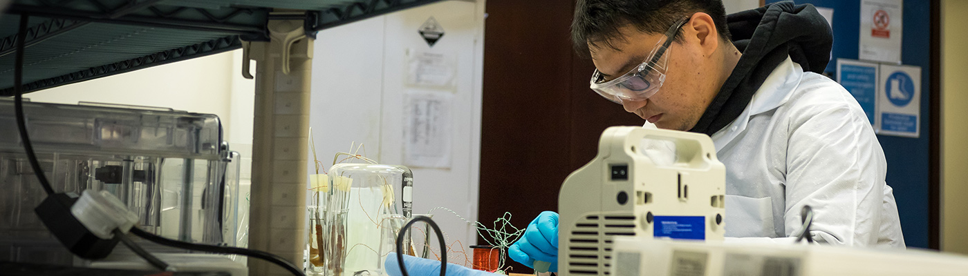 A researcher working in the dielectric laboratory